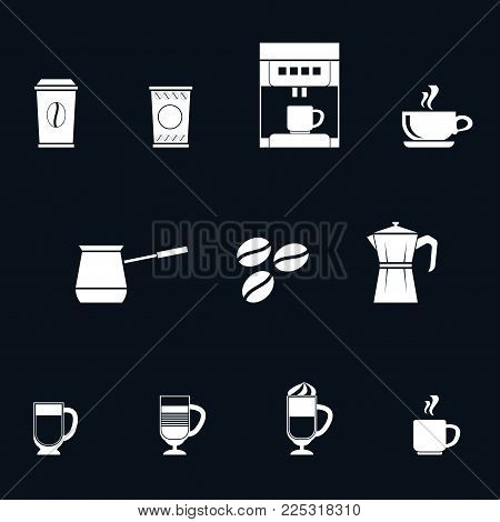 A Set Of White Coffee Flat Style Icons On Dark Background