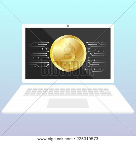 Storage bitcoin on a laptop. Wallet for crypto currency