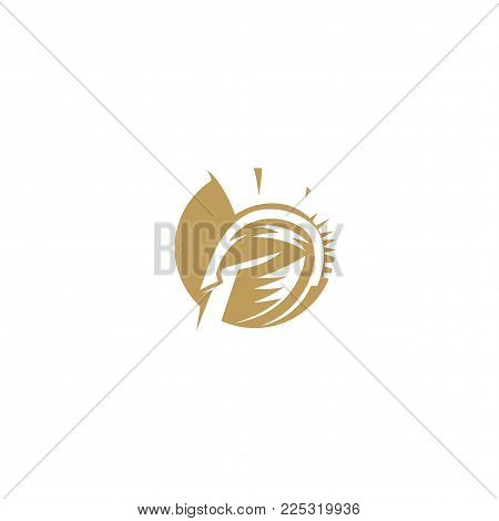 golden sports spartan logo on white background vector illustration design.