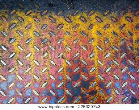 Rusty weathered metal diamond plate,Used for textured and background