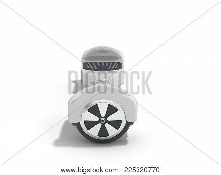 Gyro board white on white background. Electric board Modern transportation 3d render