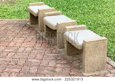 Stone Benches Seats In The Park