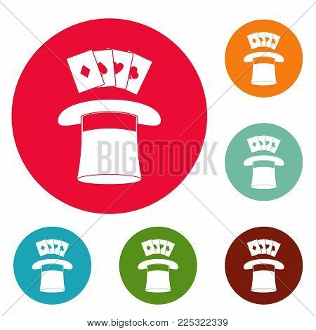Hat with card icons circle set vector isolated on white background