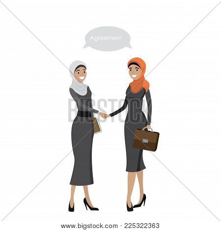 Handshake of Arab Business women, business negotiations, isolated on white background, cartoon vector illustration