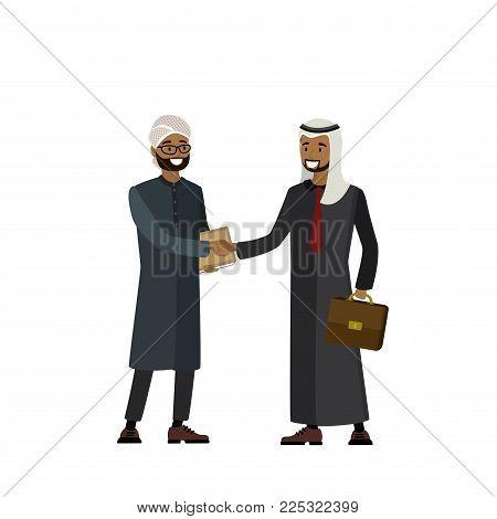 Handshake of Arab businessmen and politicians, cartoon vector illustration