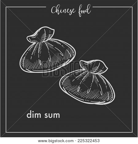 Chinese food dim sum chalk sketch icon for China cuisine menu. Vector Asian restaurant dim sum dumplings isolated on black background for Chinese restaurant premium design or recipe template