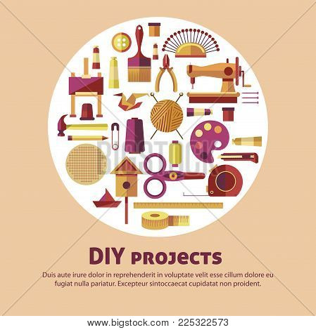 Creative art and DIY project poster for handicraft workshop or classes. Vector flat design for kid handmade hobby art craft studio for painting, knitting or sewing and woodwork construction