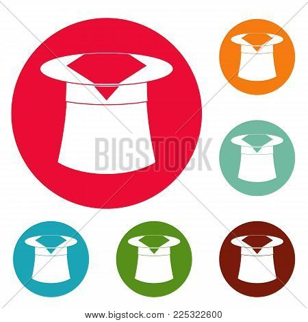 Hat with napkin icons circle set vector isolated on white background