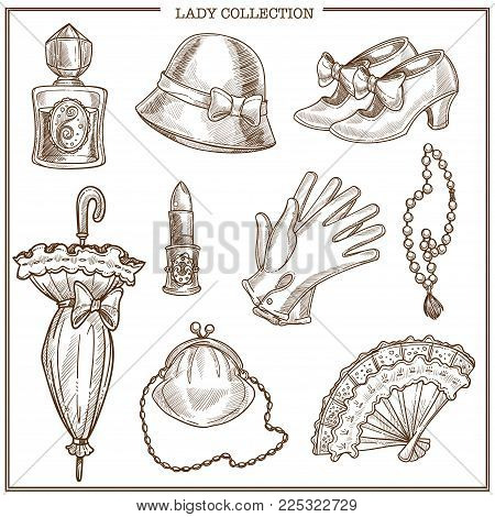 Lady retro clothes and vintage fashion accessories vector sketch icons collection. Isolated set of woman bonnet hat, umbrella and gloves or shoes, lipstick and perfume or fan and necklace jewelry