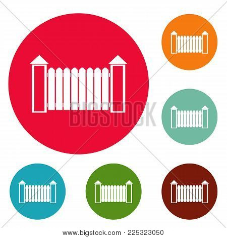 Fence with turret icons circle set vector isolated on white background