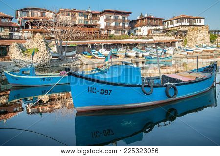 Nessebar, Bulgaria - April 24, 2013: Old Wooden Fishing Boat In Port Of Nessebar,  Ancient City On T