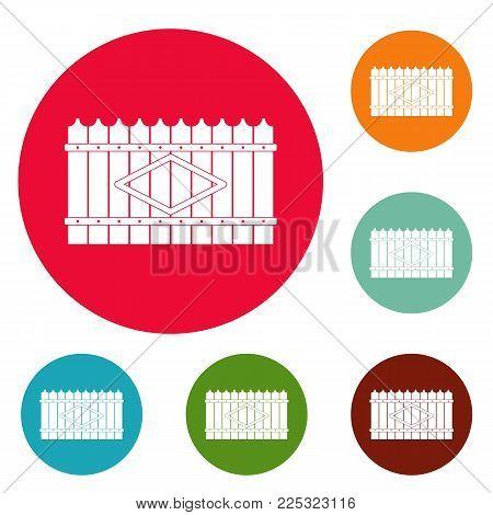 Wooden peak fence icons circle set vector isolated on white background