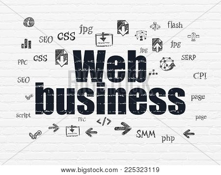 Web design concept: Painted black text Web Business on White Brick wall background with  Hand Drawn Site Development Icons