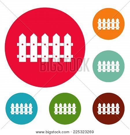Rare fence icons circle set vector isolated on white background