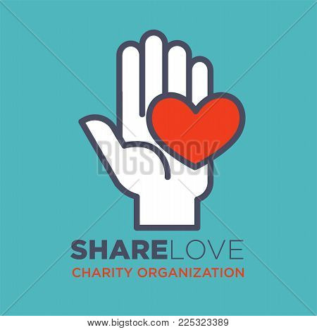 Hand and heart logo template for social donation and charity action organization. Vector isolated flat icon of hand and red heart for medical and volunteering support or blood donor design