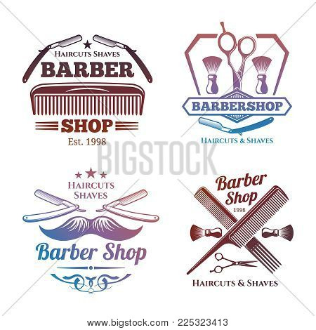 Bright barber shop emblems - men haircute salon labels design. Barbershop emblem, haircut label vintage, vector illustration
