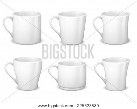 Realistic blank white coffee mugs with handle and porcelain cups vector template isolated. Cup porcelain for tea and coffee breakfast, realistic teacup illustration