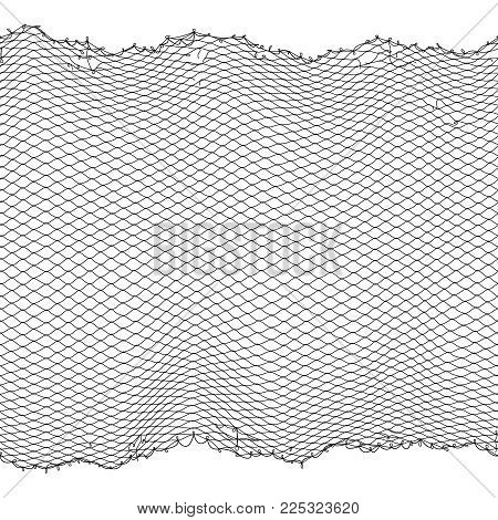 Black fisherman rope net vector seamless texture isolated on white. Fisherman netting for hunting, fiber surface illustration