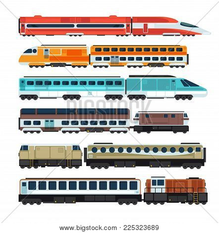 Railroad passenger trains and carriages. Flat vector railway transport set. Train transport railway, carriage travel, wagon transportation passenger illustration