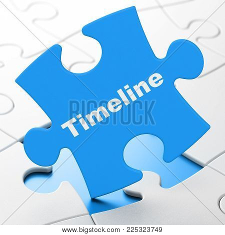 Timeline concept: Timeline on Blue puzzle pieces background, 3D rendering