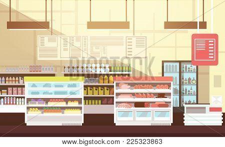 Modern super market empty interior flat vector illustration. Retail store market, supermarket with assortment food