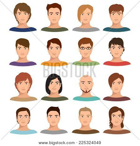 Young cartoon man portraits with various hairstyle. Male avatars vector set. Character young face male with hairstyle portrait illustration