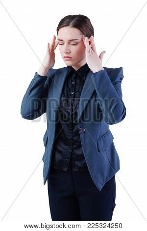 Caucasian business woman with headache isolated on white background.