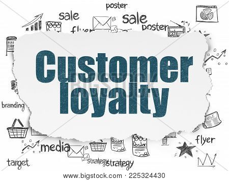 Marketing concept: Painted blue text Customer Loyalty on Torn Paper background with  Hand Drawn Marketing Icons