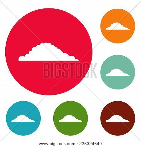 Cloudy icons circle set vector isolated on white background