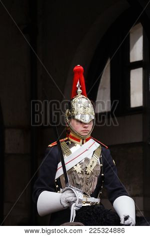 LONDON, UK - OCT 28, 2012: A mounted trooper of the Household Cavalry on duty at Horse Guards