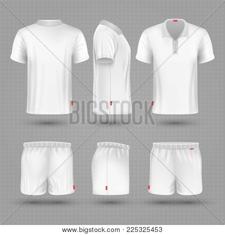 Rugby shorts and t shirt white blank man sport uniform vector set. Sport t-shirt and sporty shorts model for running illustration