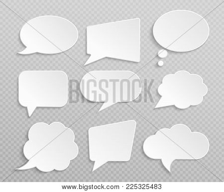 White blank retro speech bubbles isolated vector set. Illustration of cloud bubble speech for communication