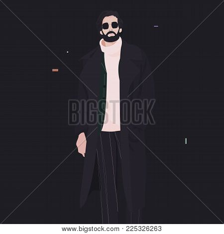 a modern fashionable man in a long cloak with a beard and glasses, goes on a black background. fashion vector illustration.