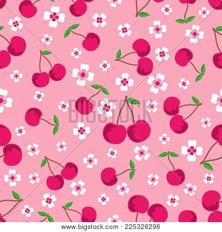 Pink Seamless Background With Cherries And Flowers, Seamless Sweet Vector Cherry Pattern, Can Be Use