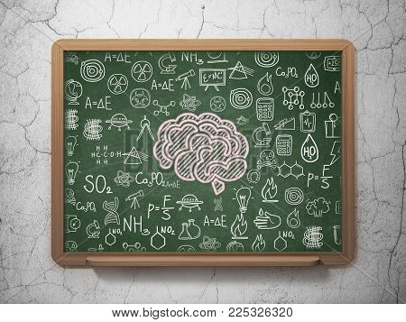 Science concept: Chalk Pink Brain icon on School board background with  Hand Drawn Science Icons, 3D Rendering