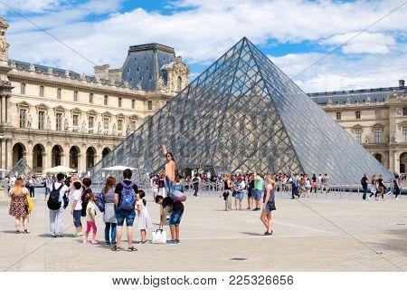 PARIS,FRANCE - JULY 29,2017 : The Louvre Museum in Paris on a beautiful summer day