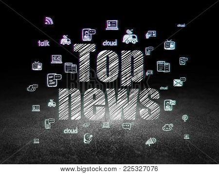 News concept: Glowing text Top News,  Hand Drawn News Icons in grunge dark room with Dirty Floor, black background