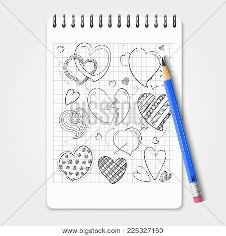 Hand drawn hearts set with realistic pencil and notebook. Vector pencil and notebook, drawing sketch doodle heart illustration