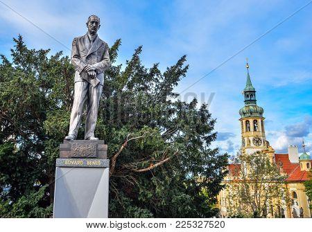 Prague, Czech Republic - October 8, 2017: Statue Of Edvard Benes, Former President Of Czechoslovakia