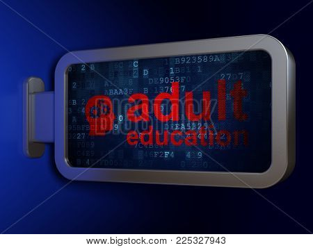Studying concept: Adult Education and Head With Gears on advertising billboard background, 3D rendering