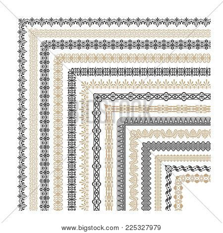 Coptic ornament frame border vector corners. Border corner frame decorative illustration