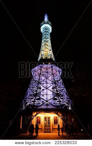 Prague, Czech Republic - October 10, 2017: Night View On Observation Petrin Tower With  Bright Night