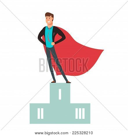 Business competition winner. Super hero man standing on podium vector illustration. Winner man in business, hero success on podium