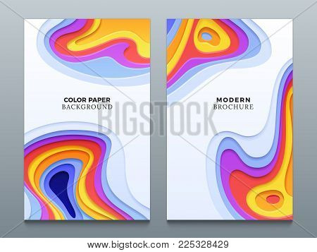 Abstract color paper cutting vector business origami backgrounds with 3d curved holes. Curve form bright layered origami colorful illustration