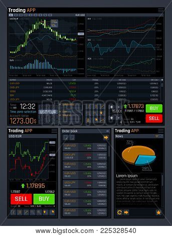 Stock trading vector concept ui with analyze data tools and financial forex market charts. Finance market data, diagram and chart, trade financial graph illustration