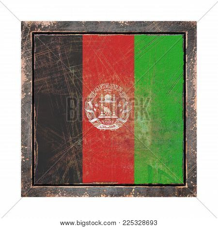 3d Rendering Of An Afghanistan Flag Over A Rusty Metallic Plate Wit A Rusty Frame. Isolated On White