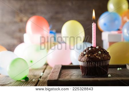 Birthday Background. Birthday Celebration With Cupcake. Birthday Greeting Card