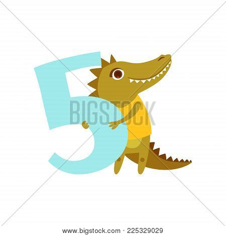 Funny cute croc animal and number five, birthday anniversary, learn to count concept cartoon vector Illustration on a white background