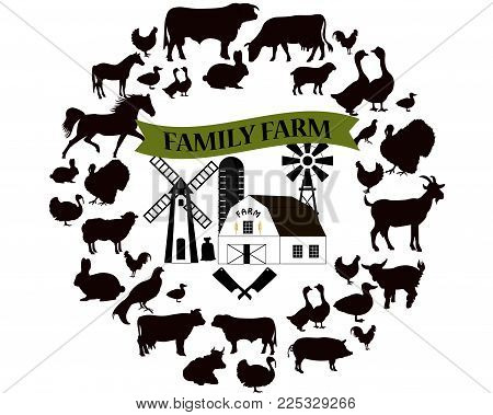 Vector farm and farming icons and design elements. Farm animals collection.