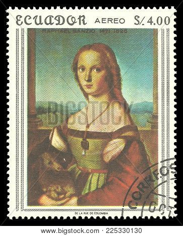 Ecuador - circa 1967: Stamp printed by Ecuador, Color edition on Art, shows Painting Lady with a Unicorn by Raphael, circa 1967
